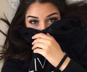 girl, eyes, and black image