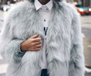 fashion, fur, and grey image