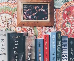 books, bookshelf, and patterns image