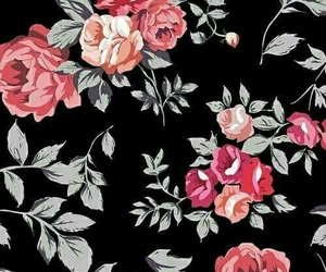 background, black, and flowers image