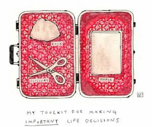 decisions, Rock Paper Scissors, and illustration image