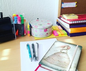 pink, school, and stationery image