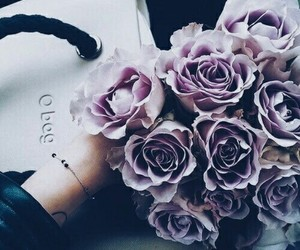 flowers, roses, and violet image