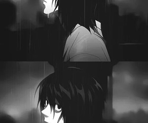anime, l lawliet, and black and white image