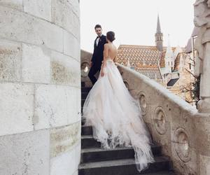 couple, wedding dress, and love image