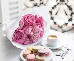flowers, coffee, and macarons image