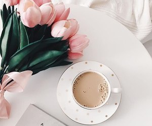 spring, coffee, and flowers image