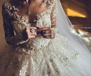 dress, wedding, and bride image