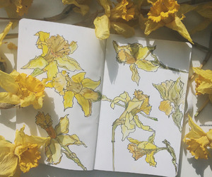 flowers, yellow, and art image