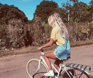 blonde, summer, and bicycle image