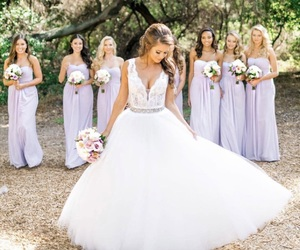 bride, white, and bridesmaid image