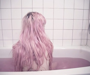 pink, hair, and bath image