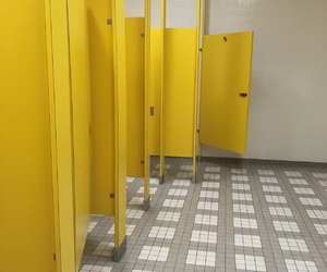 aesthetic, yellow, and bathroom image