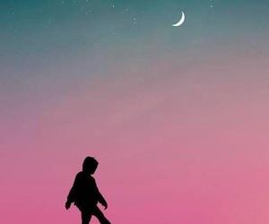 amazing, moon, and sunset image