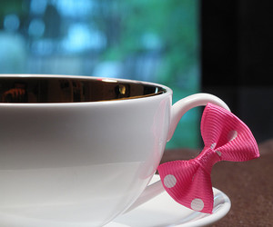 bow, pink, and coffee image