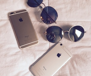 apple, sunglasses, and combination image