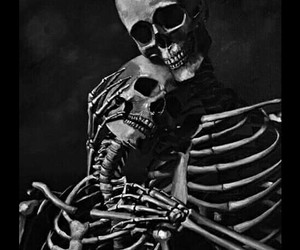 love, black and white, and skull image