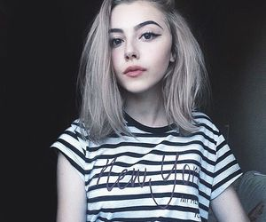 cute girl, short, and white hair image