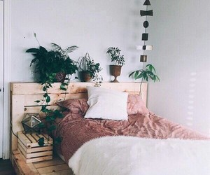 room, bedroom, and plants image