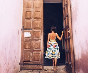 door, dress, and girl image