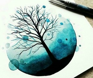 blue, tree, and boceto image