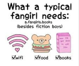 book, food, and fangirl image