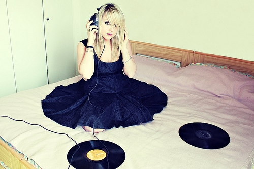 music, bed, and girl image