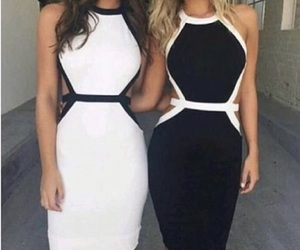 besties and black and white dress image