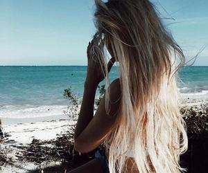 summer, hair, and beach image