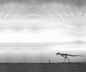 dinosaur, surreal, and leash image