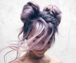 bun, girls, and hair image