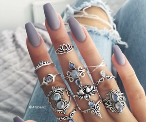nails, rings, and bohemian image