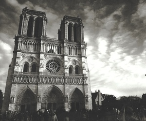 architecture, black and white, and cathedral image