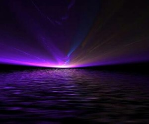 sea, purple lights, and natural lights image