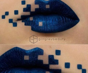 blue, lip, and square image