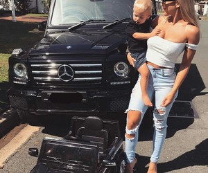 car, baby, and family image