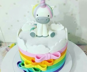 unicorn, cake, and pastel image