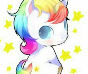 unicorn, rainbow, and kawaii image