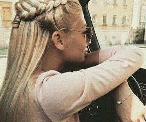 blonde, braid, and rose image