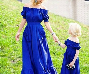 blue, dress, and garden image
