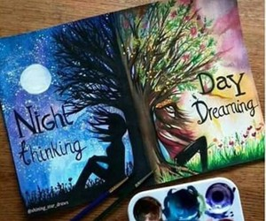 art, night, and day image