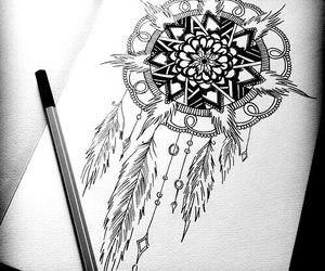 drawing, dream catcher, and feathers image