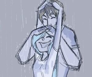 couple, rain, and cute image