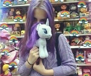 purple, unicorn, and girl image