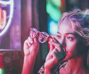 light, glasses, and neon image