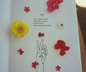 flowers, peace, and book image