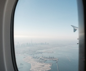 blue, Dubai, and plane image