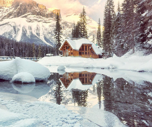 cabin, winter, and landscape image