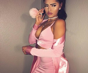 pink, makeup, and outfit image