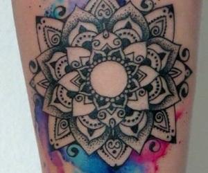 tattoo, mandala, and colors image